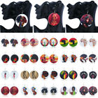 Fashion Women African Lady Natural Round Wood Disc Printed Earrings Hook Stud for sale  Shipping to Nigeria