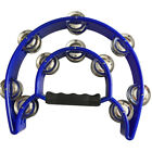 Hand Held Double Row Jingles Half Moon Musical Tambourine Percussion Drum Party