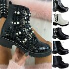 LADIES WOMENS LOW BLOCK CROC PATENT STUDS ZIP BUCKLE ANKLE CHELSEA SHOES BOOTS