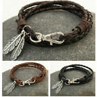 Mens Women Ladies Surfer Leather Cord Bracelet Wristband With Gift Box #66