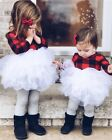 Toddler Kid Baby Girl Christmas Dress Tulle Plaid Tutu Party Pageant Dress Xmas