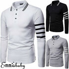 Men's Collared Shirt Casual Golf Sports Gym Fitness Long Sleeve Tee T-Shirt Tops image