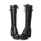Women Fashion Lace UP Knee High Black/White Boots Square High Heels Winter Boots