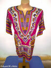Dashiki Shirt Short Sleeve Colorful Cotton African Cultural Clothing W/ Pockets