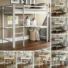 Bunk Bed Triple Sleeper Loft Cabin Bed Solid Pine Wood Frame Desk Kids 3FT 4FT6