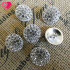 18mm Silver Crystal Carat Pave Diamond Rhinestone Vintage Domed Shank Button