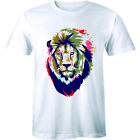 Colorful Lion Face Cool Wild African Animal King of The Forest Men's T-shirt Tee image