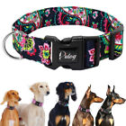 Nylon Dog Collar for Small Medium Large Dogs Adjustable Floral Pet Collars S M L