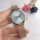 Fashion Simple Round Dail Watch Bear Dial Steel Band Wristwatches Unisex image