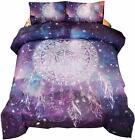 Meeting Story 3Pcs Galaxy Dream Catcher Mandala Bohemian Quilt Bedding Comforter image