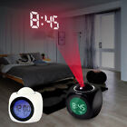 LED Wall Ceiling Projection Alarm Clock LCD Digital Voice Report Temperature RK