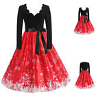 Women Long Sleeve Christmas Snowflake Vintage Dress A Line Swing Party Dreeses