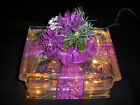 Purple or Silver Poinsettia & Pinecone Center Glass Block Light Brick Lite Decor