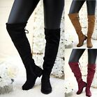 LADIES WOMENS FLAT HEEL OVER THE KNEE HIGH LONG FAUX SUEDE ZIP THIGH BOOTS SIZE <br/> 20% off with code PAID20. Min spend £15. Max £75 off