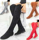 LADIES WOMENS FLAT HEEL OVER THE KNEE HIGH LONG FAUX SUEDE ZIP THIGH BOOTS SIZE