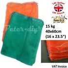 100 x NET WOVEN BAGS Drawstring MESH Sacks Vegetables Logs Kindling 40x60cm 15kg