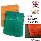 100 x NET WOVEN BAGS Drawstring MESH Sacks Vegetables Logs Kindling 38x45cm 5kg
