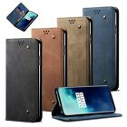 Case Cover Fr Oneplus 7T Pro/7T Luxury Canvas Leather Flip Magnetic Wallet Stand