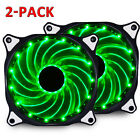 2-Pack 120mm 15LED PC CPU Computer Case Cooling Neon Quite Clear Fan Mod 7 Blade