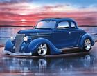 1936 Ford 5 Window Coupe Streetrod Car Art Print 11x14 Poster