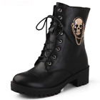 Women Skull Emblem Gothic Black Ankle Lace Up Platform Winter Boots High Heels