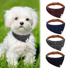 Small Leather Dog Collar Grid Bandana Dog Collar Triangle Scarf for Cats Puppy