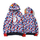 Men Bape A BATHING APE Camo Shark Hoodie Full Zipper Casual Sweater Coat Jacket