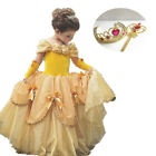 Kids Girl Beauty and the Beast Belle Princess Dress up Halloween Cosplay Costume