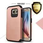 For Galaxy S6/ Active Case, Dual Layer Shockproof Cover+Tempered Glass Protector