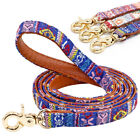 120cm Strong Dog Lead PU Leather Padded Nylon Dog Training Lead Soft Handle Pink