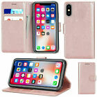 For Apple 11Pro Max 6 6s 7 7plus 8 5 SE 2 [2020]  Leather Flip Card Wallet Cover