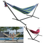 Double/Single Hammock with Stand Garden Outdoor Lounger Swing Chair Travel Camp