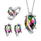 Elegant Colorful 925 Silver Zircon Crystal Necklace Earrings Ring Jewelry Set