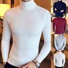 Men's Casual Jumpers Slim-fit Knitted High Roll Turtle Neck Pullover Sweater Top