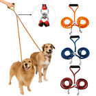 Braided Nylon 2 Way Dog Leash for 2 Dogs Walking Double Couple Rope Foam Handle