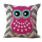 18* Cartoon Owl Linen Cotton Cushion Cover Waist Throw Pillow Case Car Home Deco