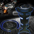 Black Pro Tank Grip Pad+Fuel Cap Cover Panigale 1299/959/899/Monster Chrome Blue