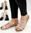 LADIES WOMENS COMFORT LOW WEDGE SUMMER DIAMANTE HOILDAY BEACH SANDALS SHOES SZ