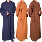 Men Women Cotton Linen Buddhist Robe Buddhism Long Meditation Master Monk Gown