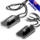 Black Dog Tag Army Military Bullet Couple Pendant Necklace With Chain Hip Hop