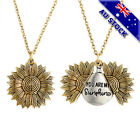 18kgold Plated You Are My Sunshine Letter Sunflower Open Locket Pendant Necklace