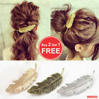 Leaf Feather Hair Pin Jewelry Women Vintage Hair Clip Barrette Bobby Gold Silver