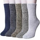 Pack of 5 Womens Winter Socks Warm Thick Knit Wool Soft Vintage Casual Crew Sock