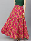 Women Cotton Blend Magenta  Yellow Floral Printed Flared Maxi Dress