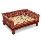 Handmade Raised Woven Wicker Pet Bed Basket Shabby Chic Kitten/Cat/Puppy/Dog NEW