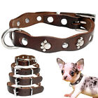 Brown Leather Dog Collar Cute Paw Studded Pet Puppy Chihuahua Collars Adjustable