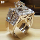 Size 6-10 925 Silver Crystal Diamond Ring Women Engagement Wedding Jewelry Gift