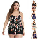 Women Tankini Swimdress Two-Piece High Waist Swimwear Floral Beachwear Plus Size