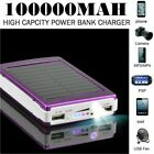 UK Portable 100000mAh Solar Charger Power Bank 2 USB LED For iPhone 11 8 X XS XR