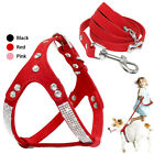 Bling Rhinestone Dog Harness and Leash Soft Suede Leather Pet Dog Step-In Vest